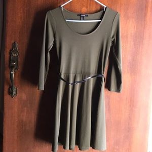 Forest green scoop neck babydoll dress